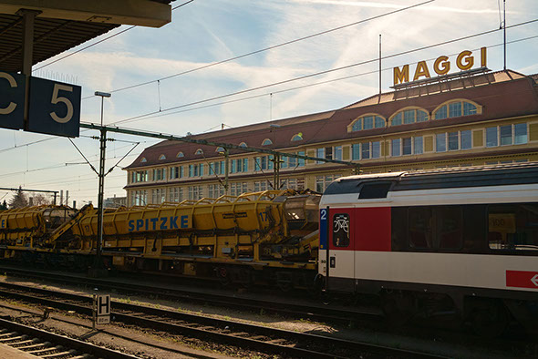The Maggi factory seen from the railway station in Singen.